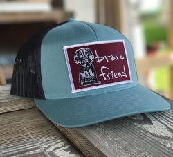 5ce54f9223b This is our new Bravefriend Low Profile Trucker Hat. You get to customize  your hat by choosing what color patch you would like.